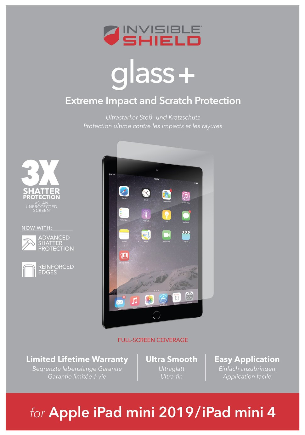 Zagg InvisibleShield Glass+ Apple iPad Mini Screen Protector