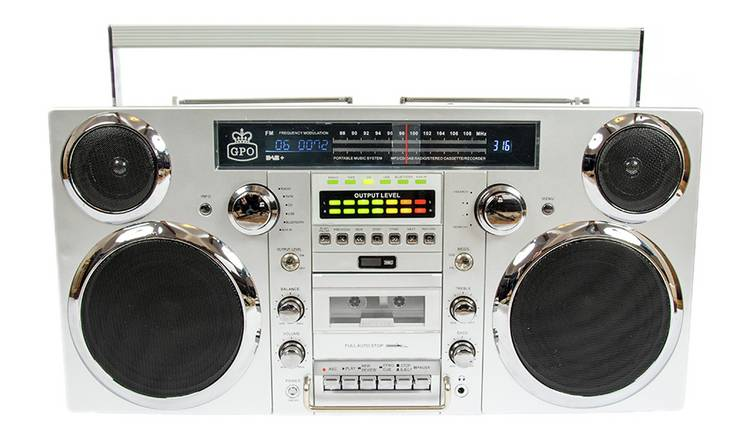 GPO Brooklyn Radio, CD and Bluetooth Boombox - Silver