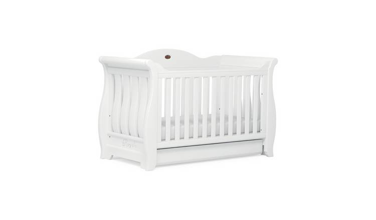 Boori Sleigh Royale Baby Cot Bed and Drawer - White