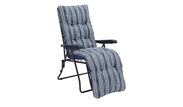 Argos Home Metal Folding Relaxer Chair - Coastal Stripe