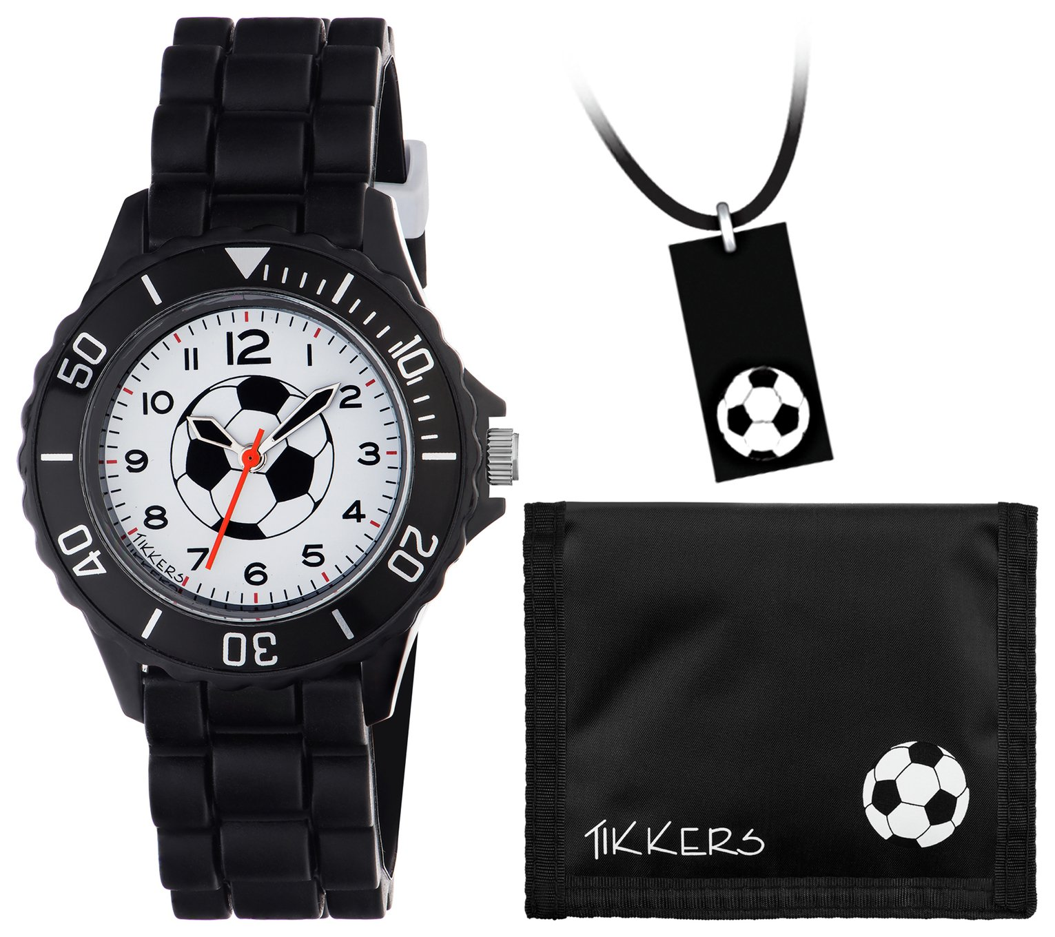 Kids Tikkers Black Football Watch Set
