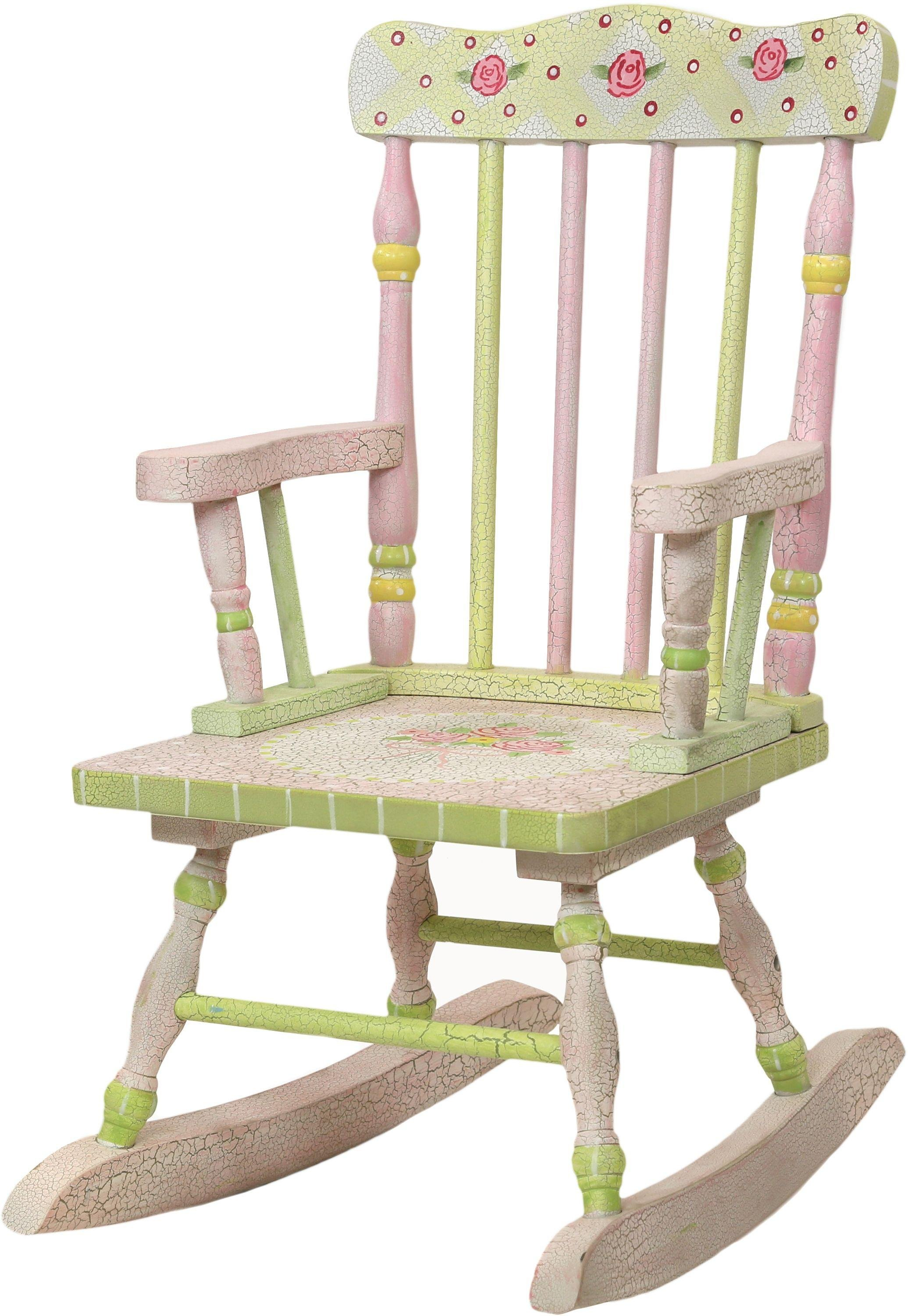Image of Fantasy Fields Crackled Rose Rocking Chair.