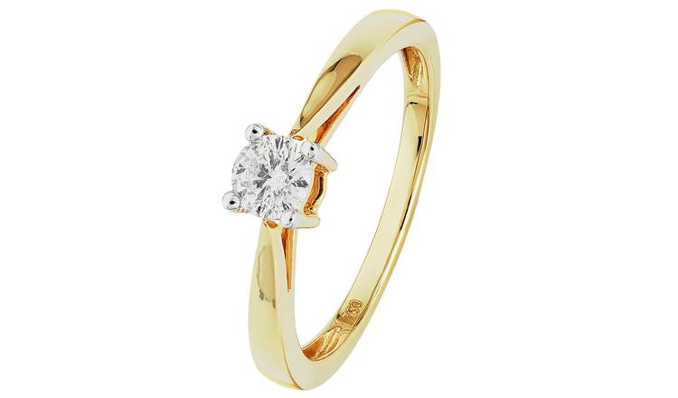 Revere 18ct Gold 0.25ct Diamond Solitaire Ring - T