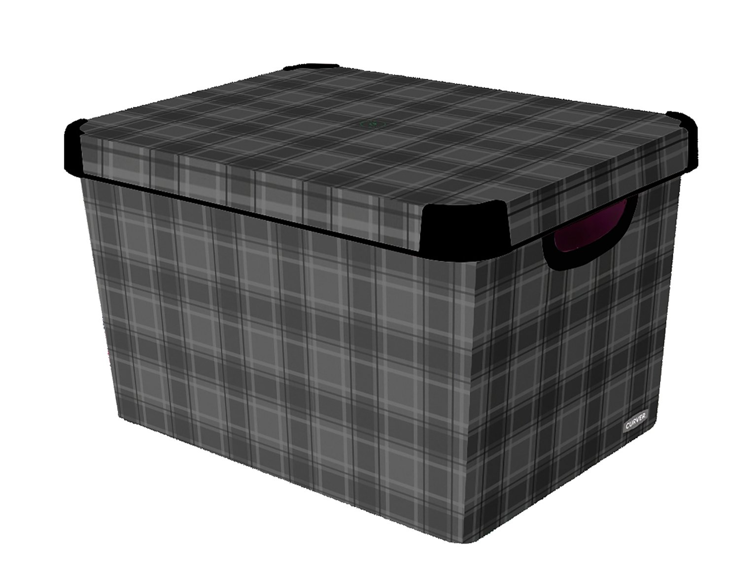 Curver Plastic Deco Box - Grey Check