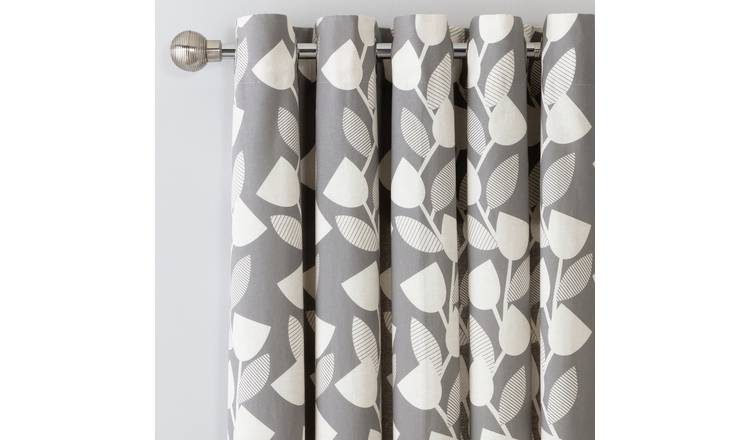 Argos Home Modern Floral Lined Eyelet Curtains - Grey