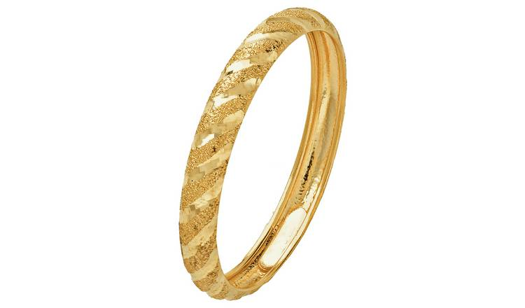Revere 9ct Gold Diamond Cut Satin Wedding Ring - 3mm - M