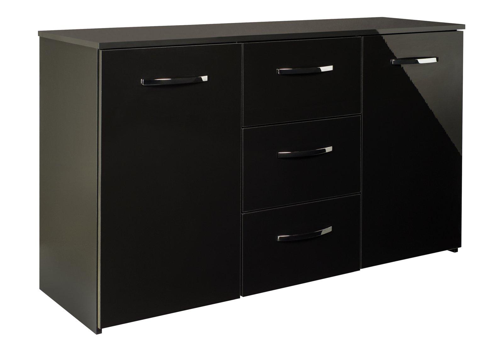 Argos Home Hayward 2 Door 3 Drawer Sideboard - Black Gloss