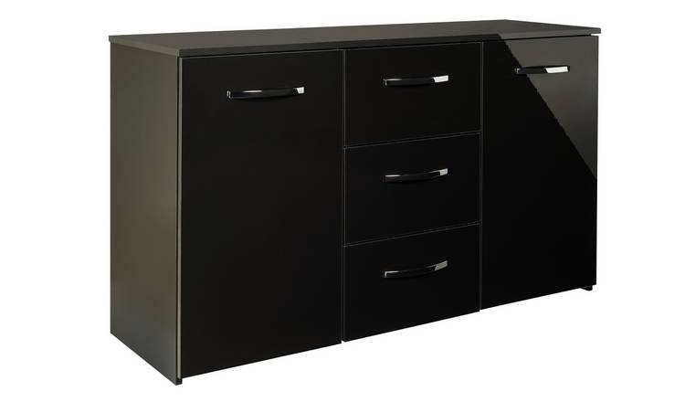 Argos Home Hayward 2 Door 3 Drawer Sideboard - Black Gloss