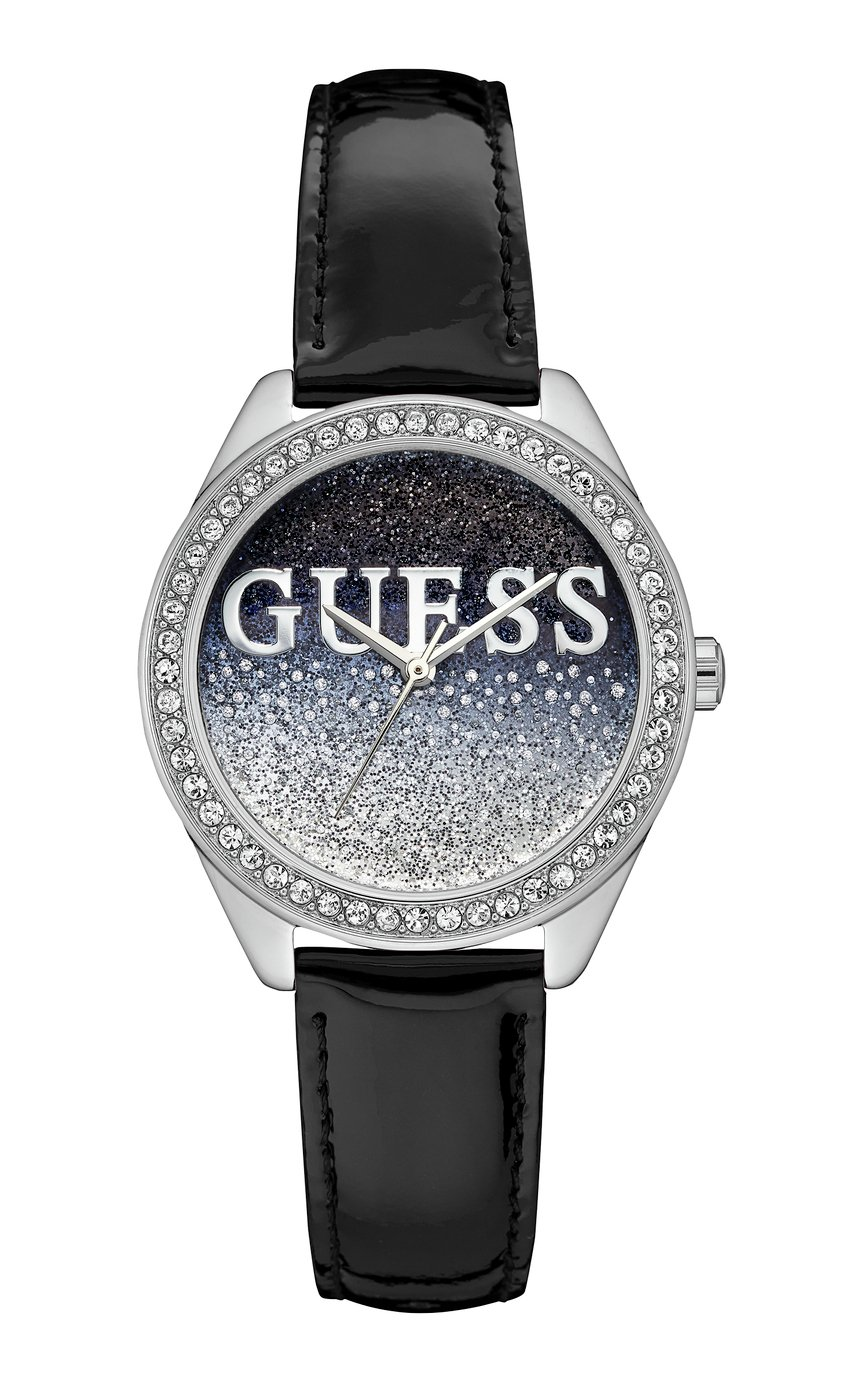 Guess Ladies Black Leather Strap Watch