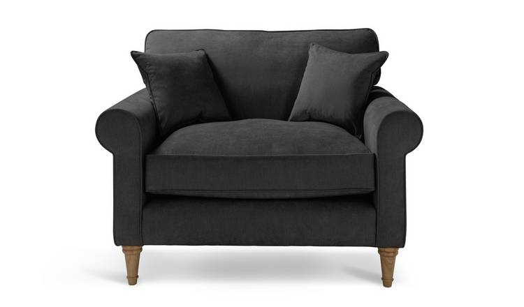 Argos Home William Fabric Cuddle Chair - Charcoal