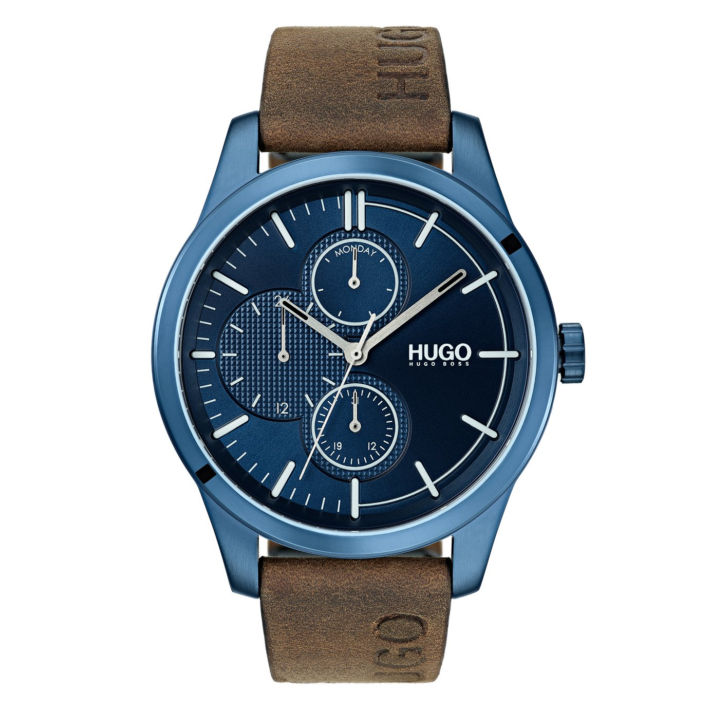 HUGO Men's Discover Brown Leather Strap Watch