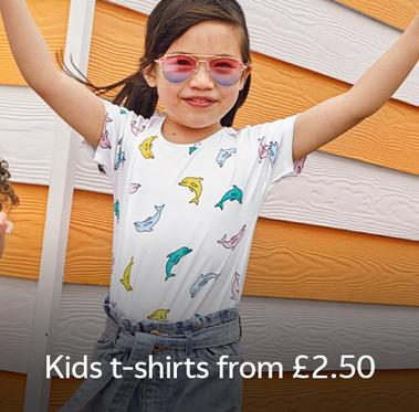 Kids T-shirts from £2.50.