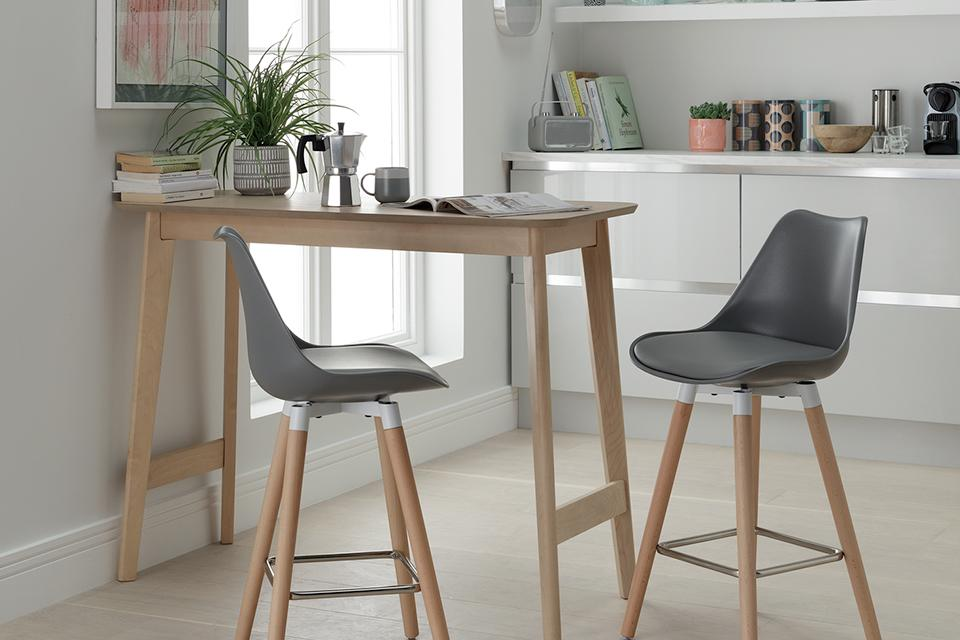 Argos Home Skandi Bar Table & 2 Charlie Bar Stools - Grey.