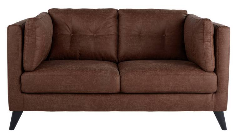 Argos Home Charlie Compact 2 Seater Faux Leather Sofa - Tan