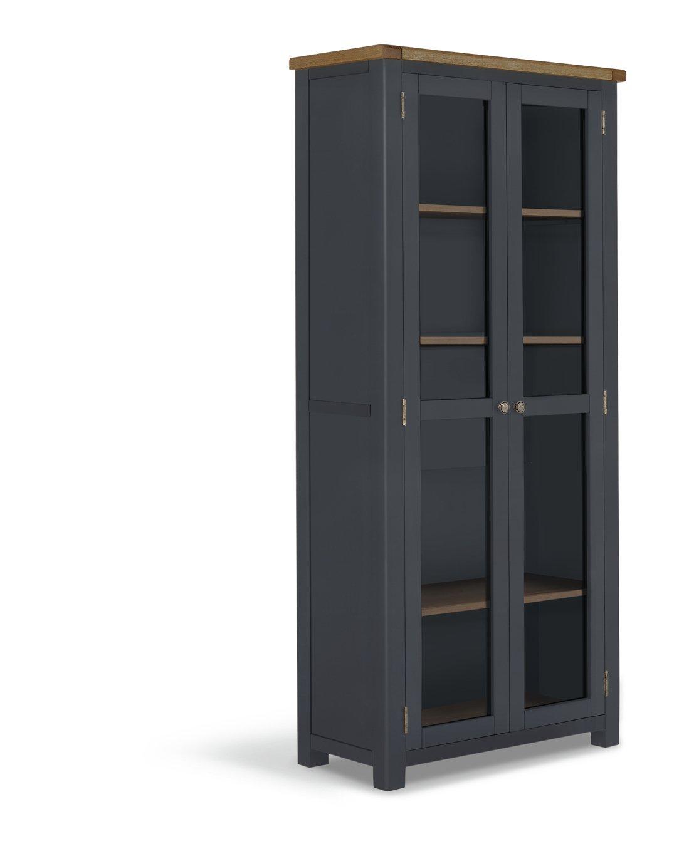 Habitat Kent 2 Door Oak & Oak Veneer Display Cabinet-Grey