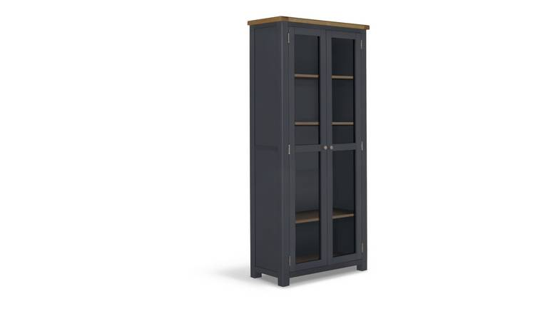 Habitat Kent 2 Door Oak & Oak Veneer Display Cabinet-Grey
