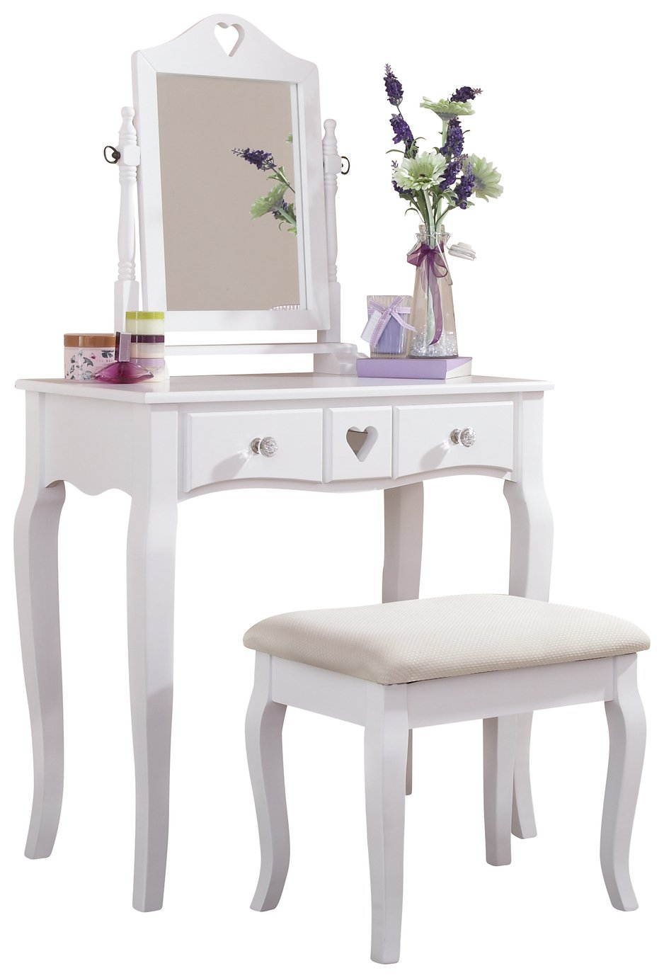 GFW Heart White Dresser & Stool