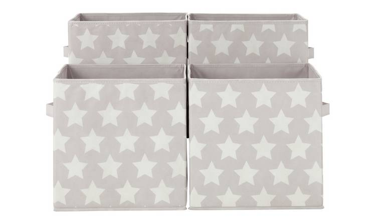 Argos Home Stars Canvas Boxes - Grey