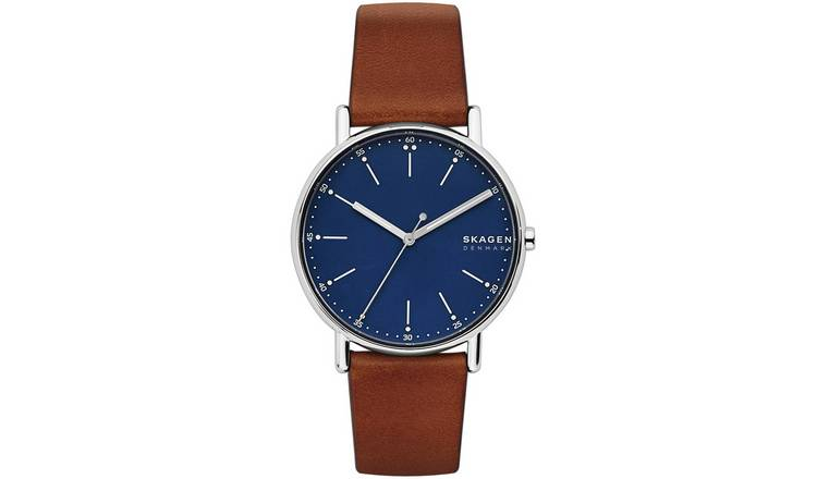 Skagen Men's Signatur Brown Leather Strap Watch