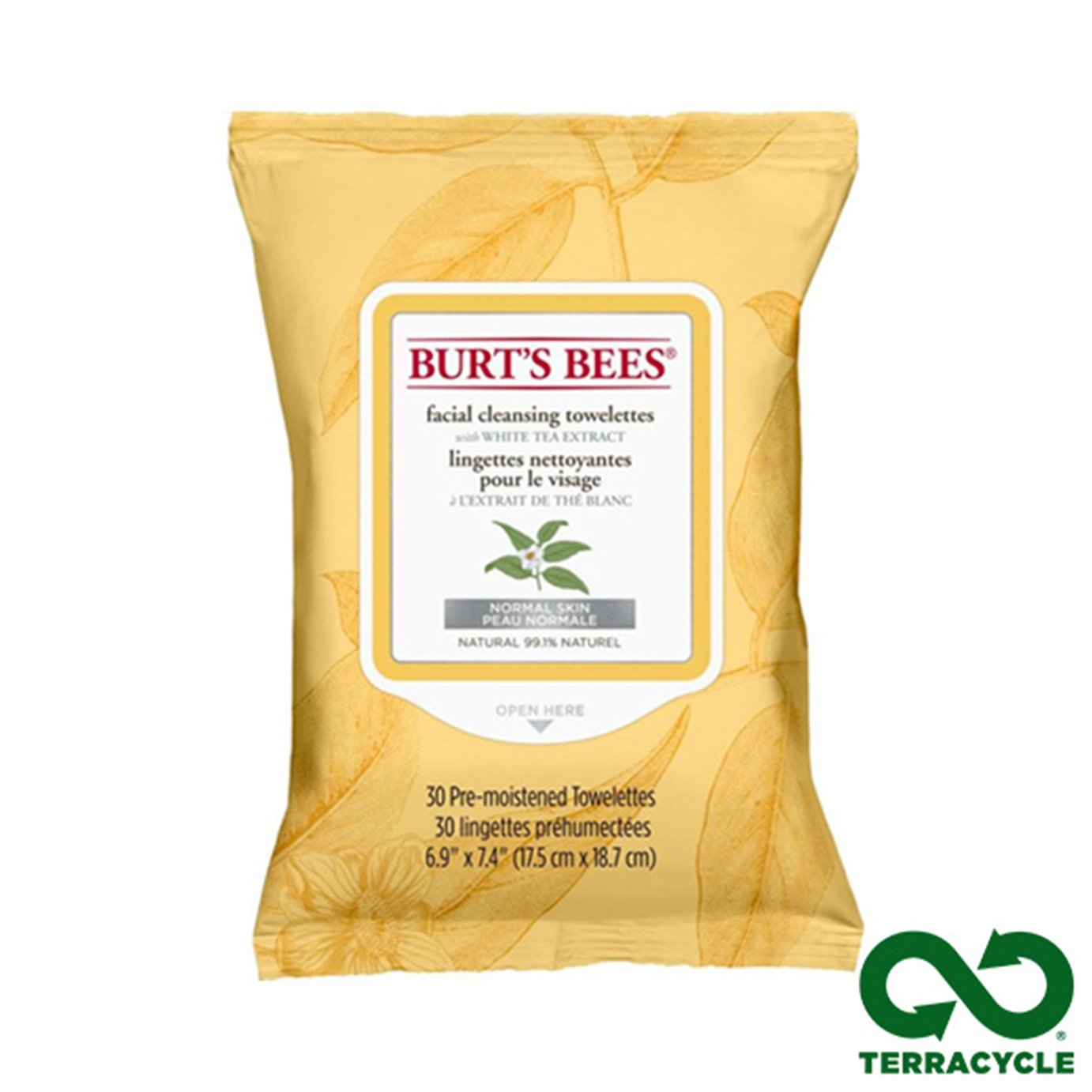 Burt's Bees White Tea Cleansing Wipes x30