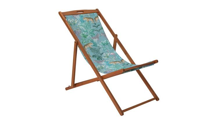 Argos Home Wooden Deck Chair - Wilderness Jungle 0
