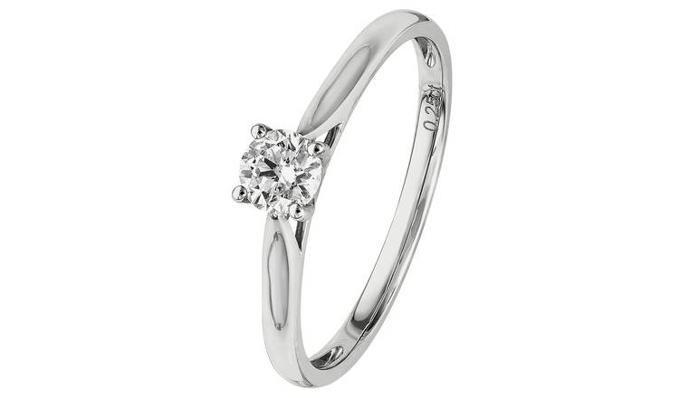 Revere 18ct White Gold 0.25ct tw Diamond Solitaire Ring - M