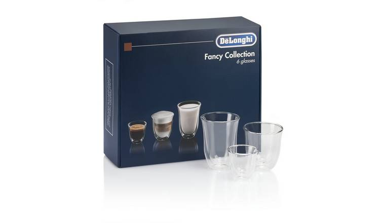 De'Longhi 6 Piece Cappuccino, Espresso & Coffee Glass Set