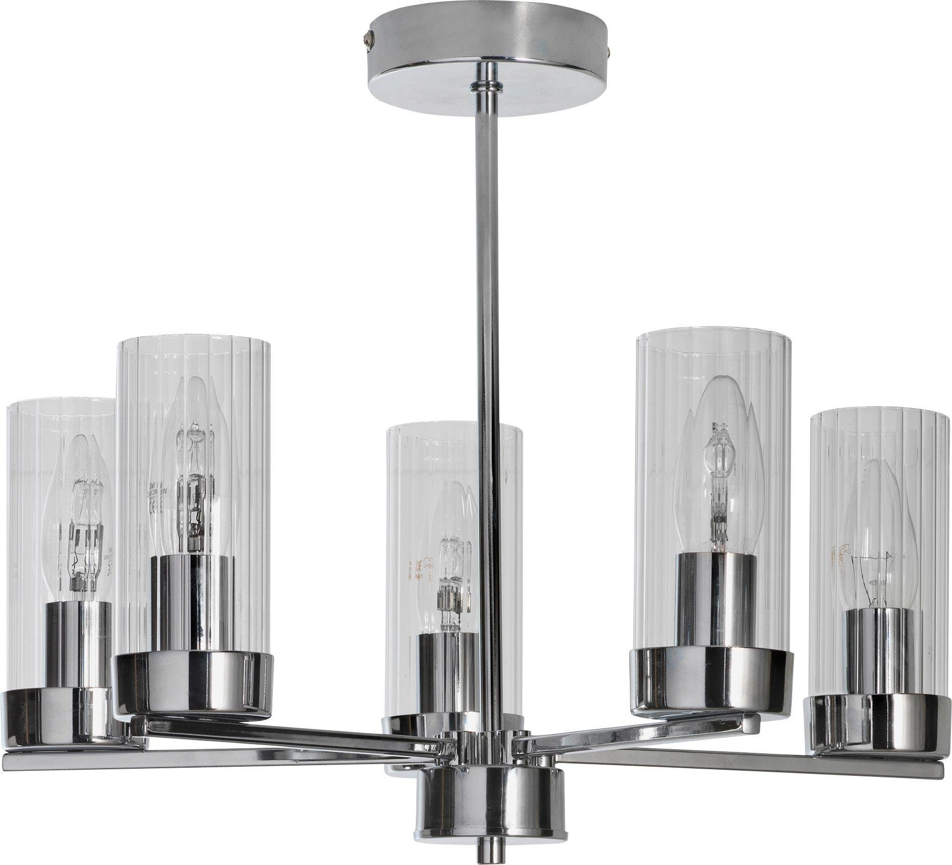 Argos Home Wallis 5 Light Glass Ceiling Light - Chrome