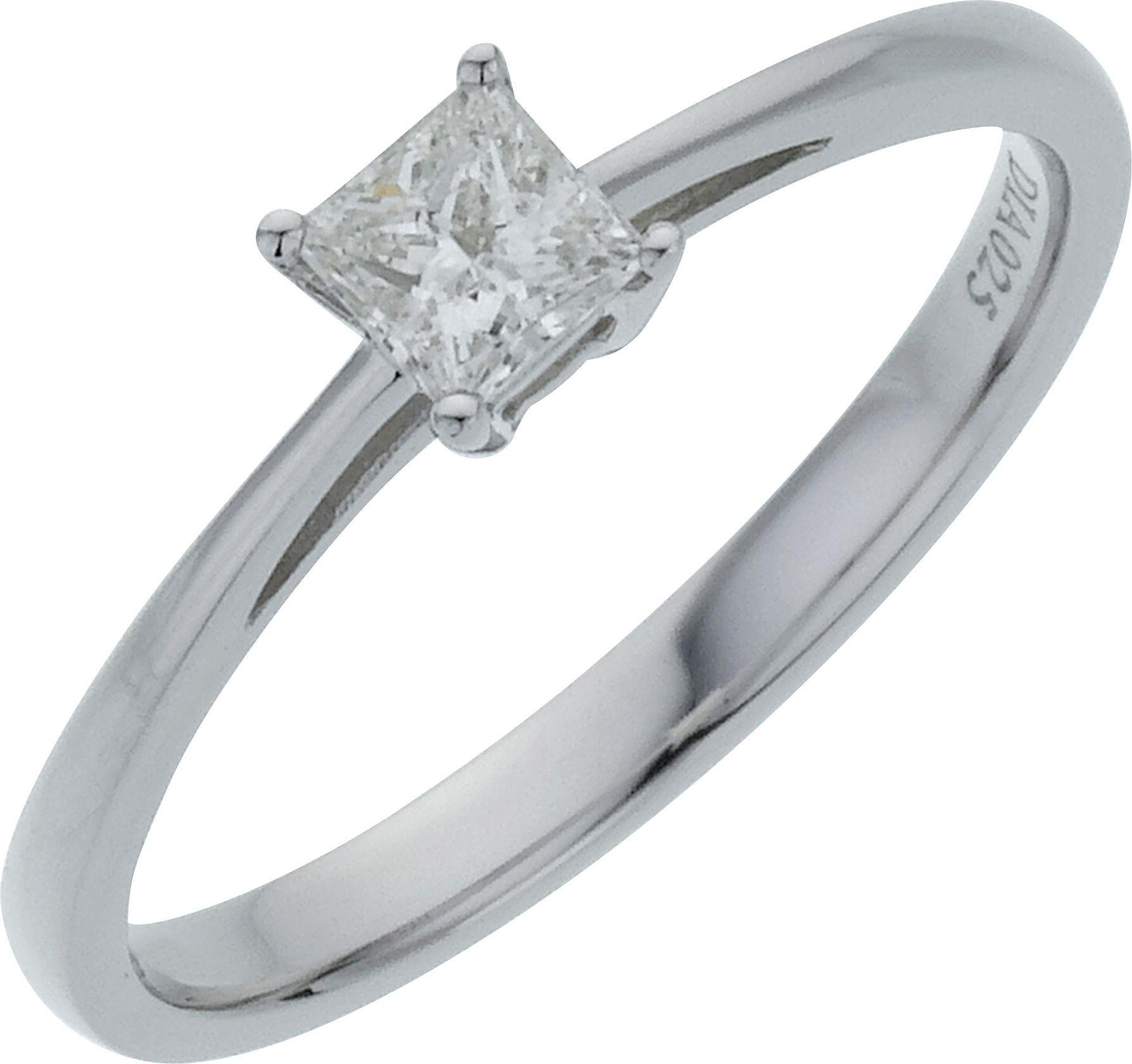 18 Carat White Gold 025 Carat Diamond - Princess Cut Diamond - Ring - M