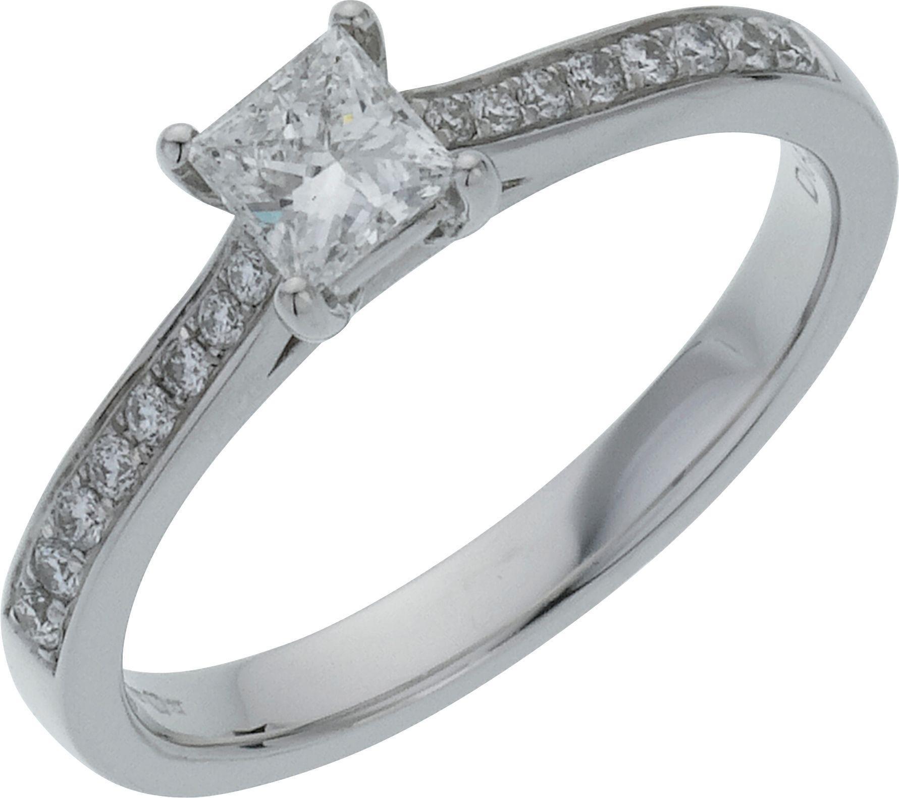 18 Carat White Gold 050 Carat Diamond - Princess Cut Shoulder Ring- O