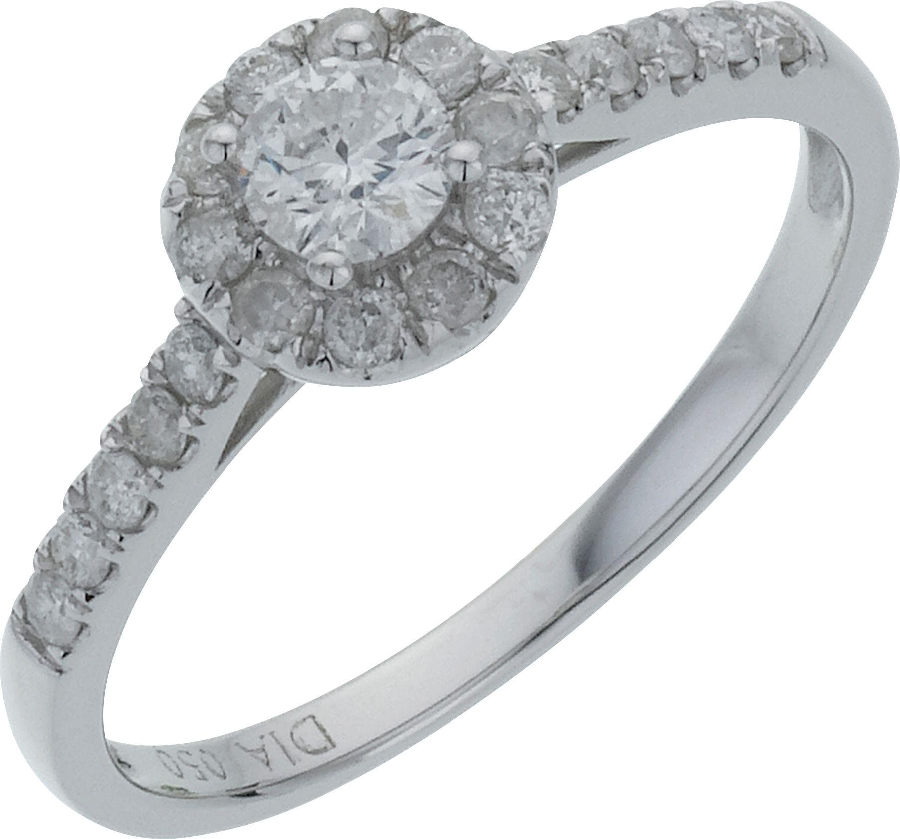 Everlasting Love 18 Carat White Gold Round Diamond - Halo Ring - Size M
