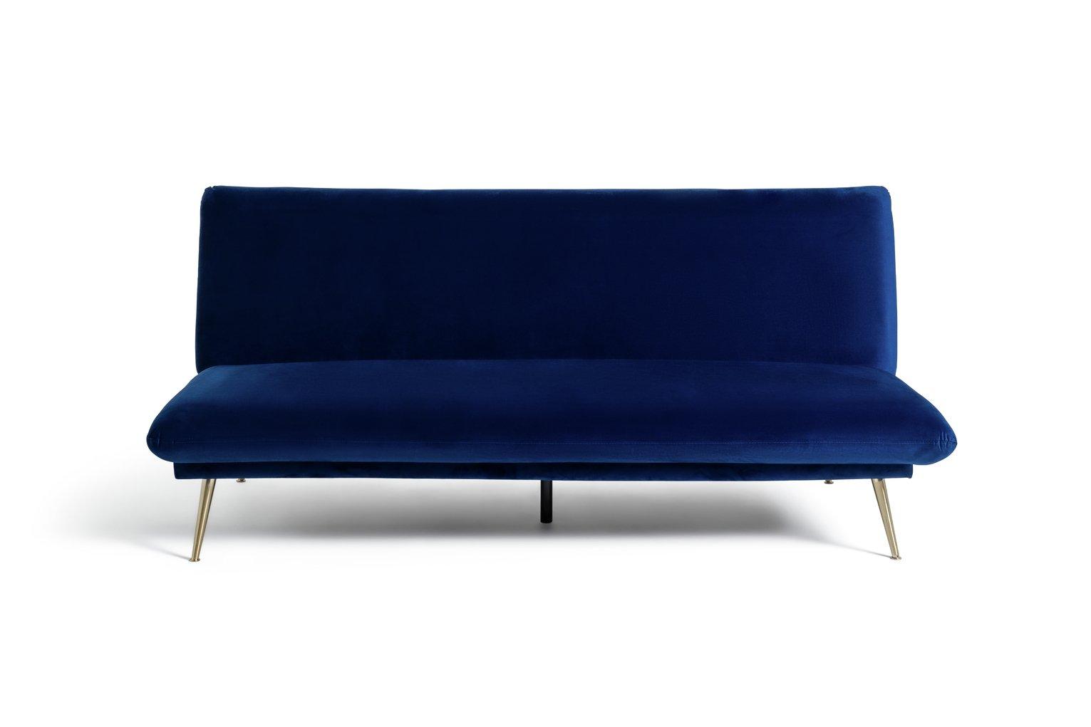 Habitat Matteo 2 Seater Velvet Sofa Bed - Blue