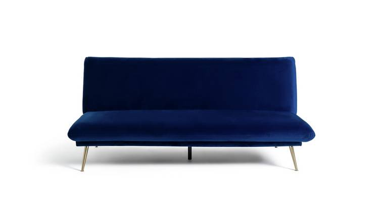 Habitat Matteo 2 Seater Velvet Sofa Bed - Blue