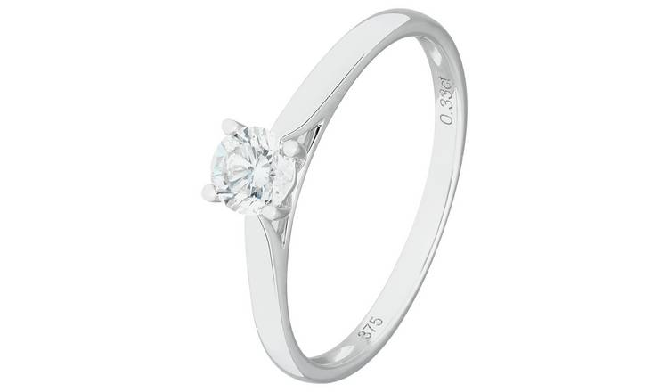Revere 9ct White Gold 0.33ct Diamond Solitaire Ring - O