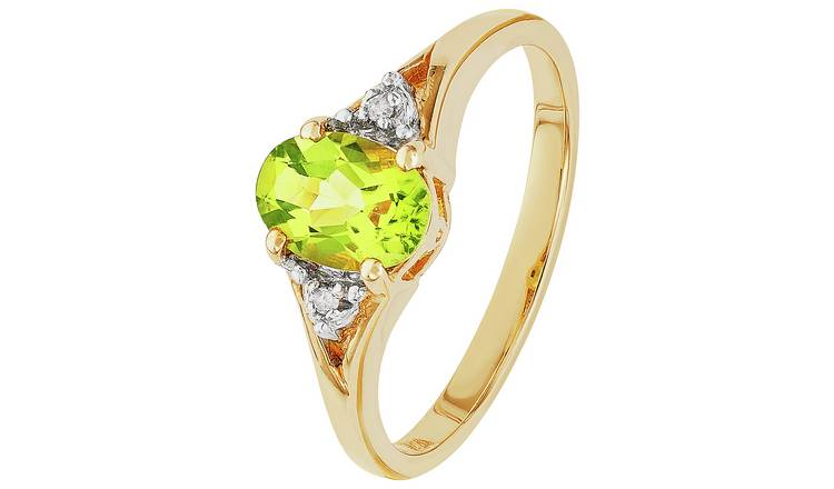 Revere 9ct Gold Peridot and Diamond Accent Oval Ring - Q