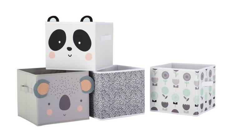 Buy Argos Home Set of 4 Animal Canvas Boxes | Toy boxes | Argos