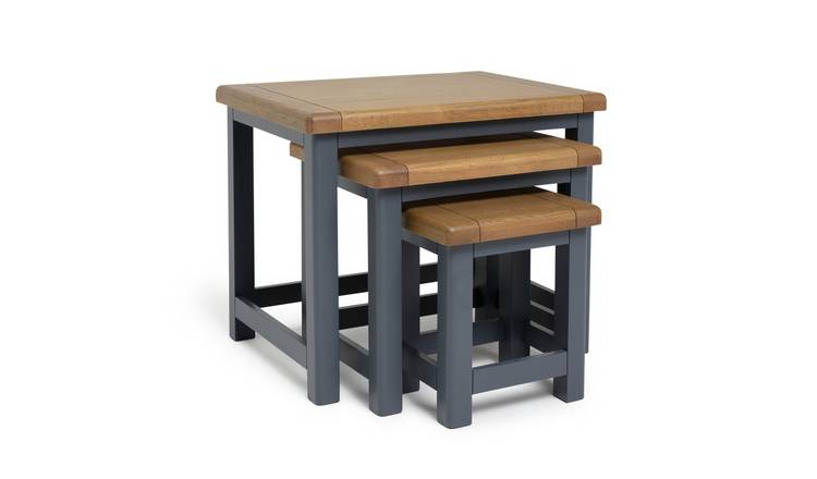 Argos Home Kent Oak & Oak Veneer Nest of 3 Tables - Grey