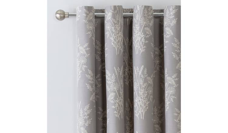 Argos Home Floral Jacquard Lined Eyelet Curtains - Grey