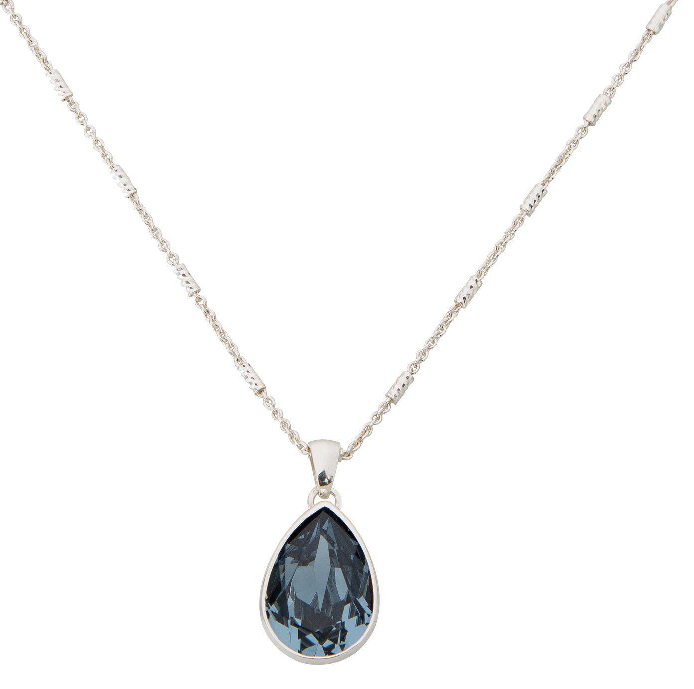 Image of Davvero - Sterling Silver - Blue Crystal Drop Pendant.