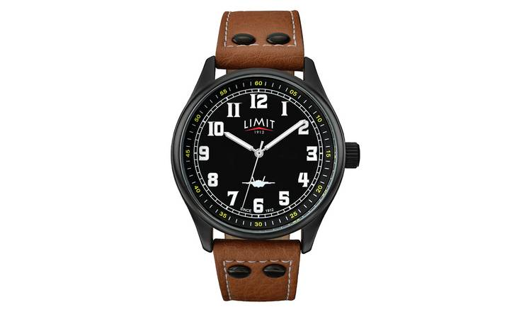 Limit Men's Tan Faux Leather Strap Watch