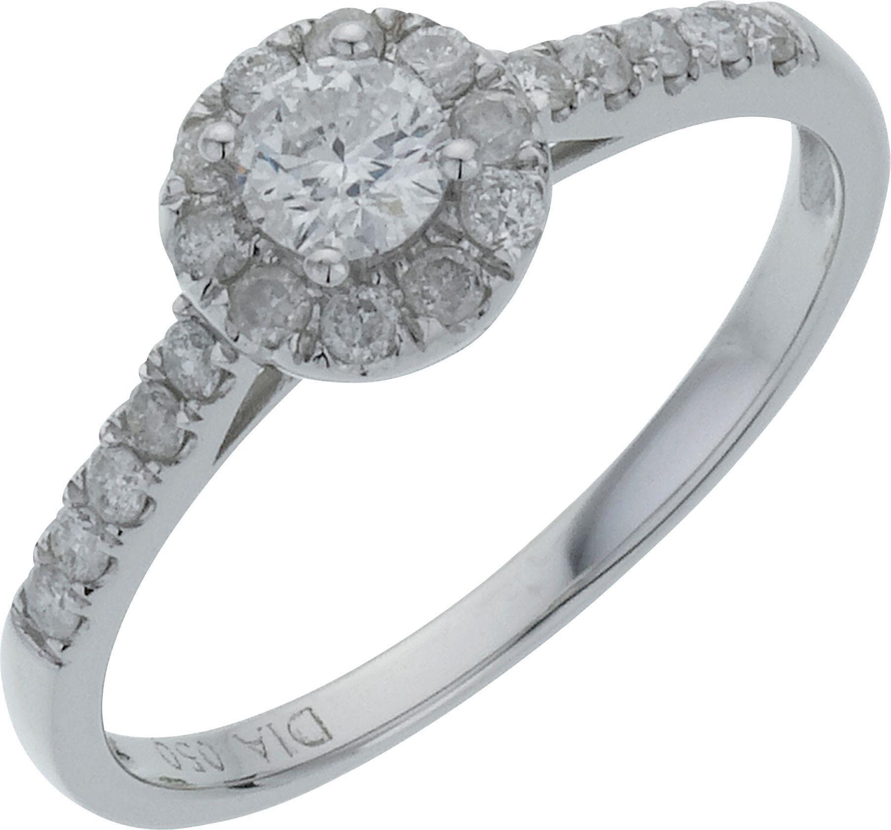 18ct White Gold Round Diamond Halo Ring - Size P