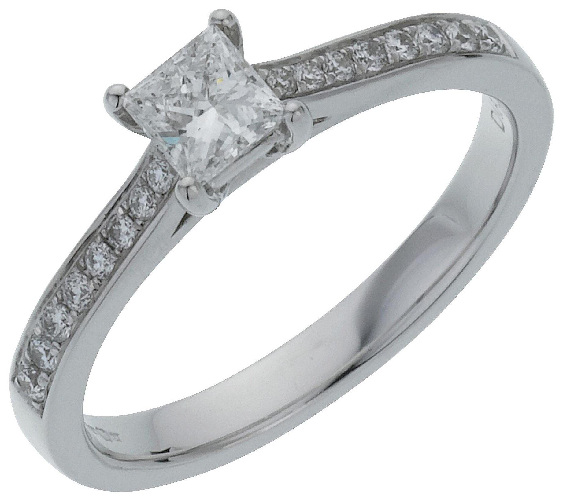 18 Carat White Gold 05 Carat Diamond - Princess Cut Shoulder Ring- J