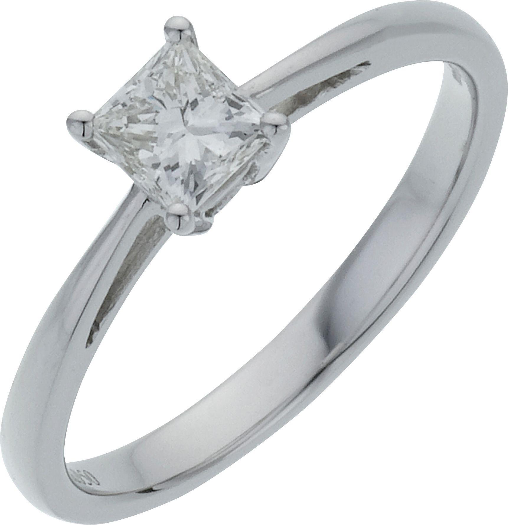 18 Carat White Gold 05 Carat Diamond - Princess Cut Diamond - Ring - M