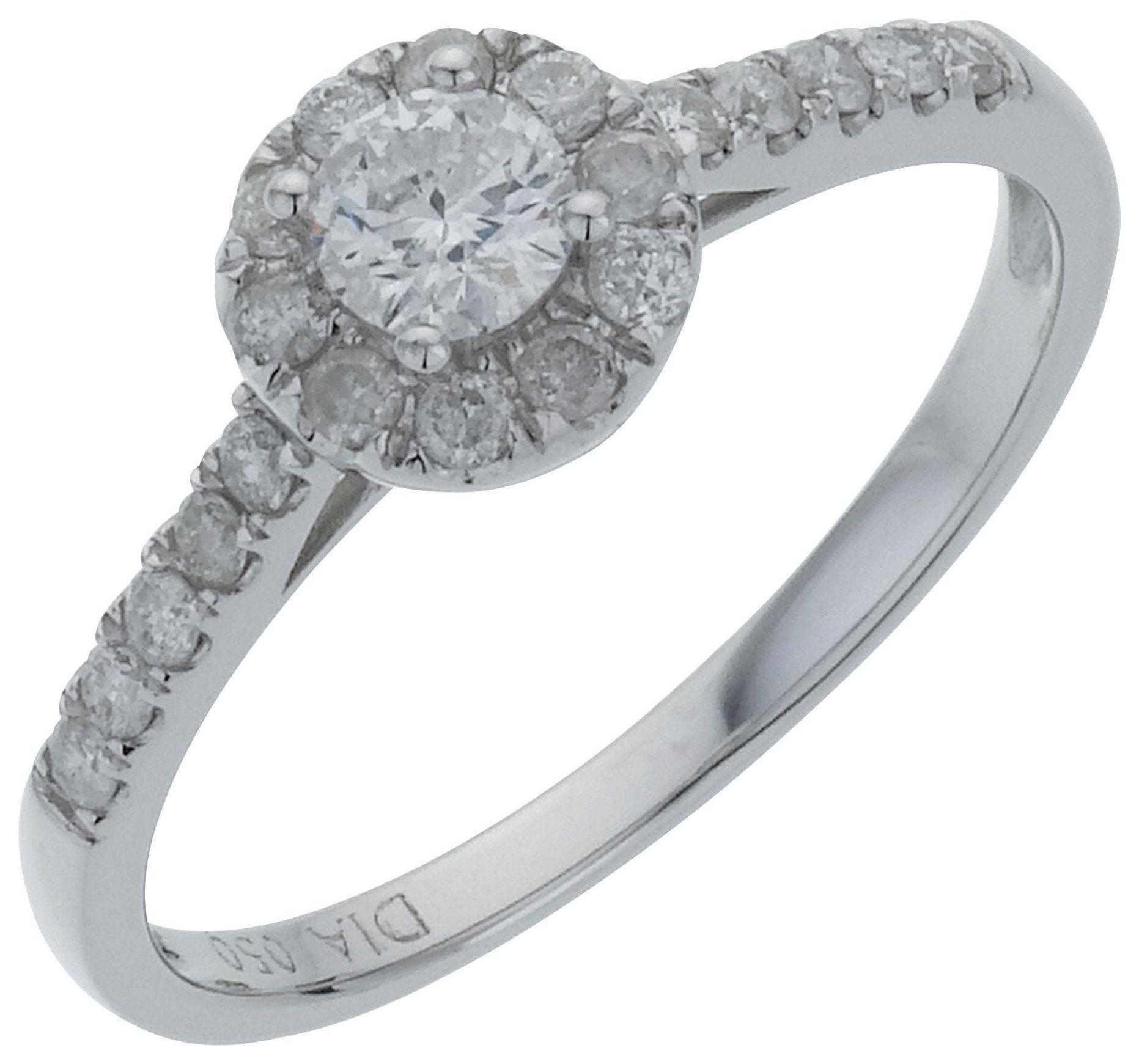 18 Carat White Gold Round Diamond - Halo Ring - Size R