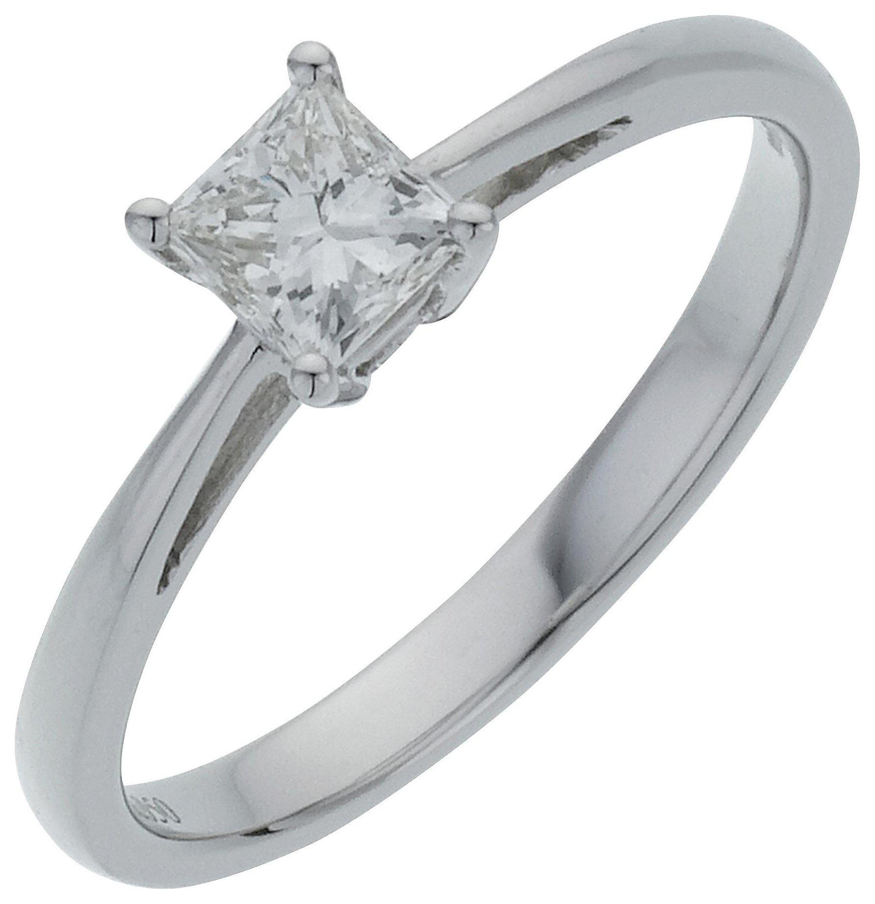 18 Carat White Gold 05 Carat Diamond - Princess Cut Diamond - Ring - J