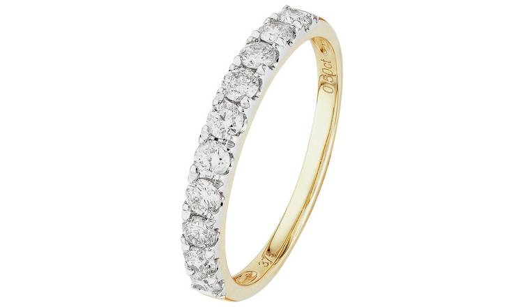 Revere 9ct Gold 0.50ct Diamond Claw Set Eternity Ring - Q