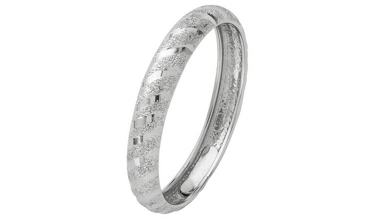 Revere 9ct White Gold Diamond Cut & Satin Wedding Ring -M