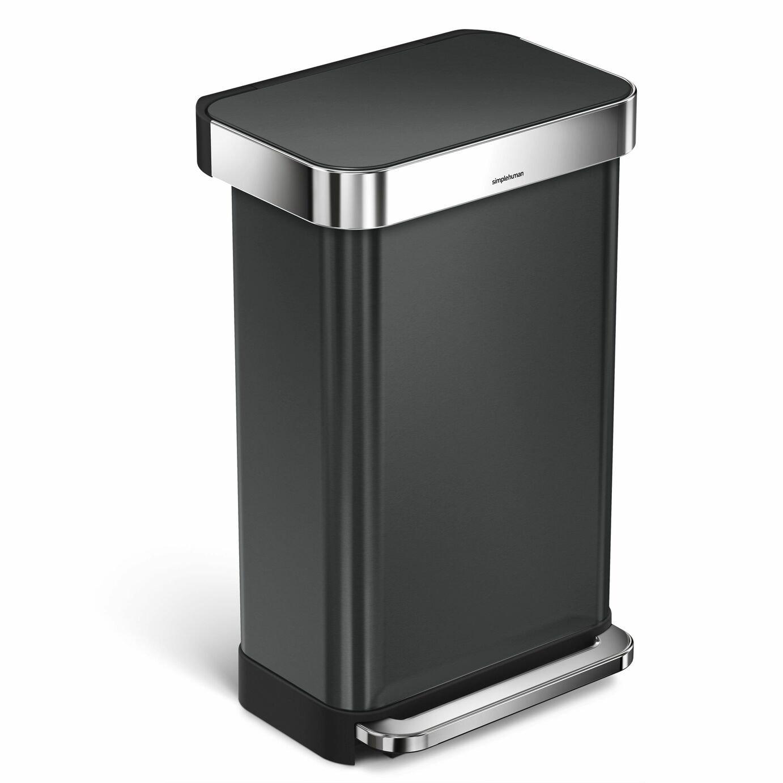 simplehuman Stainless Steel 45 Litre Pocketed Bin - Black