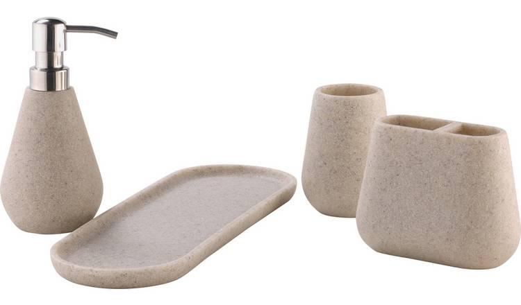 Buy Argos Home 4 Piece Bathroom Set Sandstone Bathroom
