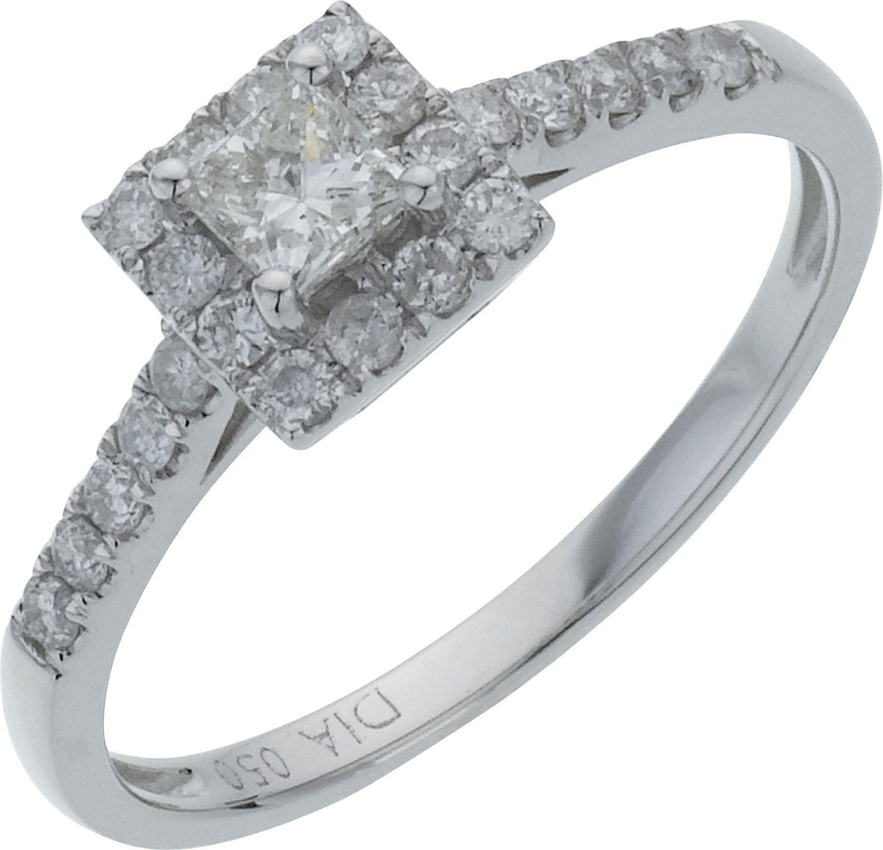 18 Carat White Gold 05 Carat Square Diamond - Halo Ring
